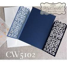 wedding invitations nz blue lasercut wedding invitation cover cw5102
