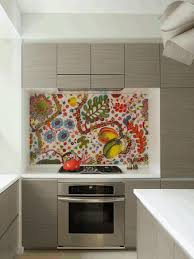 sleek gray wooden kitchen counter artistic painting on a white
