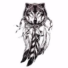 Wolf Indian Tattoos - wolf design temporary dreamcatcher indian