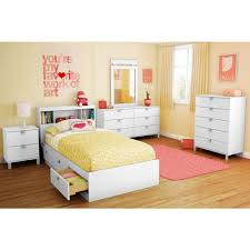 White Bookcase Headboard Twin South Shore Spark Twin Size Bookcase Headboard In Pure White