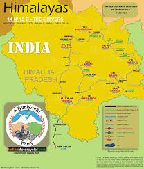 Himalayan Mts Map Motorcycle Travel In India Route Maps Of Our Fixed Departure Tours