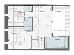 plan des bureaux partage de bureaux à bordeaux chartrons architectes roode aragües