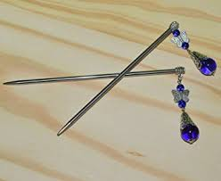 hair sticks 1 pair blue metal hair chopsticks hair