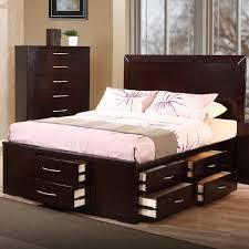 Cal King Platform Bed Frame Furniture Dark Brown Platform Bed With Storage Drawers And Tall