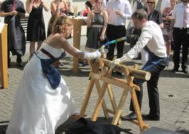 german wedding traditions log sawing look interesting diy