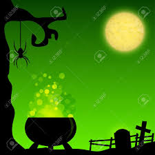 magic halloween background with witch cauldron royalty free