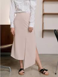 points of light review kindersalmon slit skirt in light beige curated collections of
