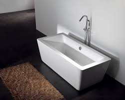 bathroom ideas rectangle white modern acrylic bathtubs on black