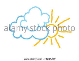 clouds and sun icon outline style stock vector illustration