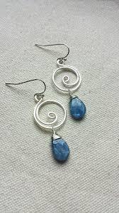wire earrings blue kyanite silver swirl wire wrapped earrings by blackwoodarts