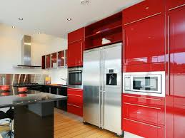 Selecting Kitchen Cabinets Kitchen Brown Wood Floor Brown Glasses Table Red Modern Kitchen