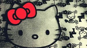 black hello kitty face wallpaper