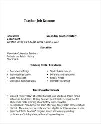Teacher Job Resume Sample by 25 Teacher Resumes In Word Free U0026 Premium Templates