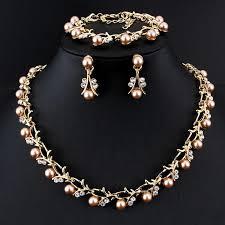 bridal necklace earring images Jiayijiaduo hot imitation pearl wedding necklace earring set jpg