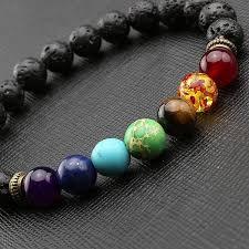 bracelet stone images Healing 7 chakras volcanic stone energy bracelet jpg