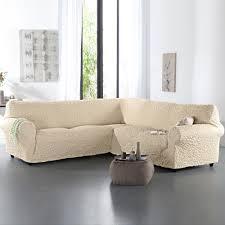 couvre canap d angle housse gaufrée bi extensible canapé d angle blancheporte