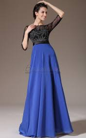 royal blue bateau neckline long chiffon lace bridesmaid dress in