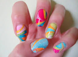 superficial snack rainbow water marbled nails offbeat bride