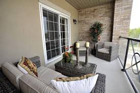 Comfortable Porch Furniture Exterior Elegant And Comfortable Wooden Apartment Balcony