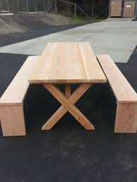 Wooden Picnic Tables With Separate Benches 8ft Oversized Doug Fir Picnic Table With X Legs And Separate