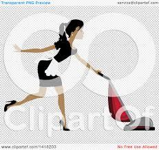 Vaccuming Clipart Of A Dark Skinned Female Maid Vacuuming Royalty Free