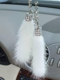sale white color mink keychain car ornament