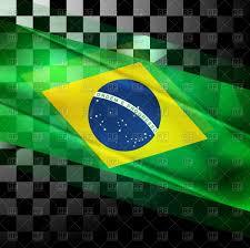 Brazil Flag Image Brazilian Flag On Black And White Squares Background Royalty Free