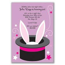 magic show bunny invitations purple for kids birthday by milelj