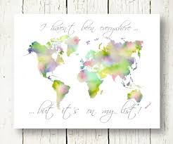 World Map Pdf Watercolor World Map Travel Quote Wall Art Decor Digital Print
