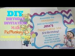 diy birthday invitation with picmonkey despicable me theme youtube