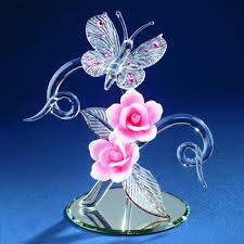 glass baron butterfly with pink roses