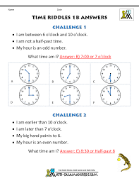 printable time worksheets time riddles easier