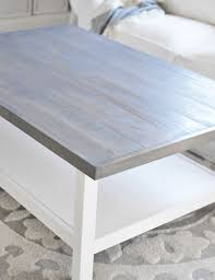 gray wood side table weathered gray stain top detail diy coffee table ikea decora