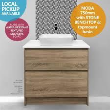 moda 750mm white oak timber wood grain floor standing bathroom