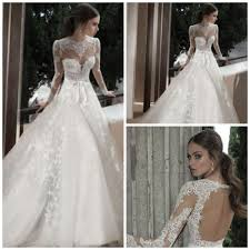 online shop open back country style wedding dresses long sleeve