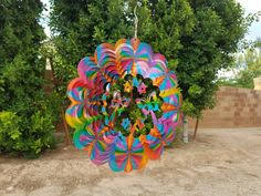 Garden Spinners And Decor Butterfly With Flowers Multi Wind Spinner Metal Yard Art And