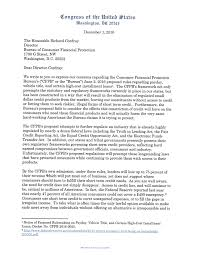 Life Insurance Agent Resume Payday Rule Letter To Cfpb Congressman Sean Duffy