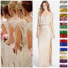 sequins rose gold long bridesmaid dresses plus size split scoop