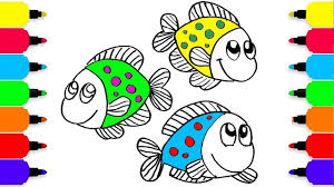 how to draw cute fish u0026 coloring pages for kids learning videos