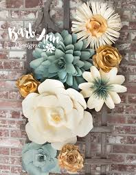 flower backdrop eucalyptus gold large paper flower wall backdrop barb