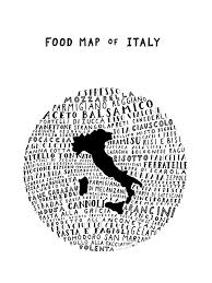 Map Art Typographic Food Map Of Italy White Poster The Legal Nomads Shop