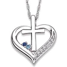 diamond cross heart necklace images Sterling silver couples genuine birthstone heart cross necklace gif