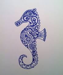 blue paisley seahorse tattoo stencil by emily