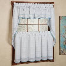 Blue Swag Curtains Cotton Classic White Blue Window Pane Pattern And Crotchet Trim