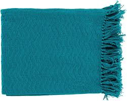 Teal Blue Home Decor Thelma 50 By 60 Inches Woven Cotton Throw Home Decor Surya