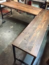 Solid Wood Desks For Home Office Furniture L Shaped Reclaimed Solid Wood Desk With Black Metal
