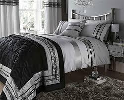 Duvet Curtain Sets Black U0026 Silver Grey Embellished King Size Duvet Set With Matching