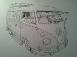 volkswagen drawing timelapse pencil sketch vw camper van youtube
