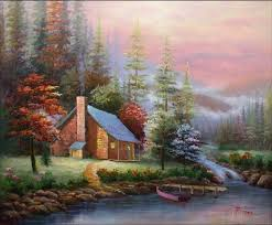 hand painted wall art winter forest lake house boat home