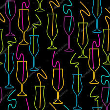seamless pattern of glasses neon colors on a black background